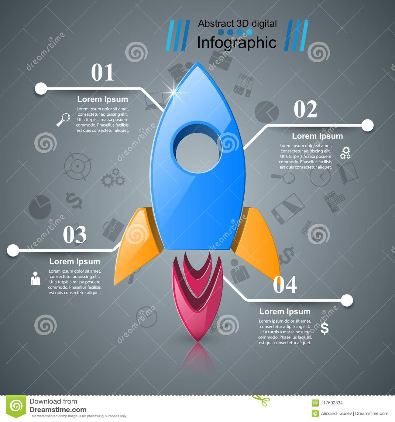 real rocket ship diagram mtd lawn mower belt icon abstract illustration infographic stock vector