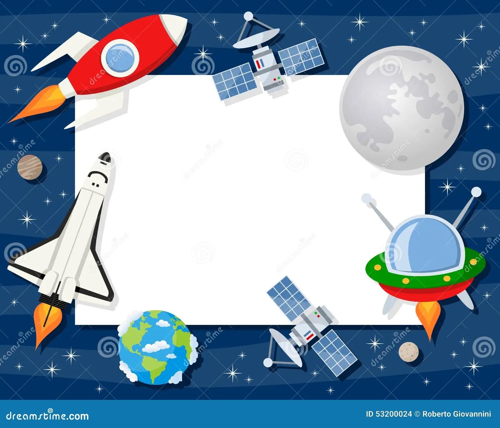 Rocket Shuttle Satellites Horizontal Frame Stock Vector