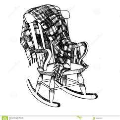 Engraved Rocking Chair Teal Lounge And Plaid Engraving Vector Stock