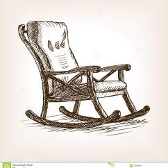 Engraved Rocking Chair Upholstered Chairs For Dining Room Sketch Style Vector Illustration Stock