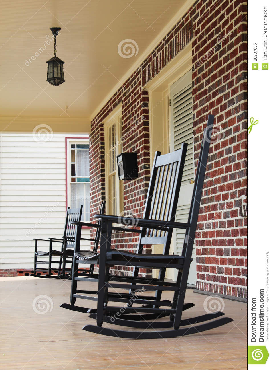 Rocking Chairs On Front Porch In North Carolina Royalty