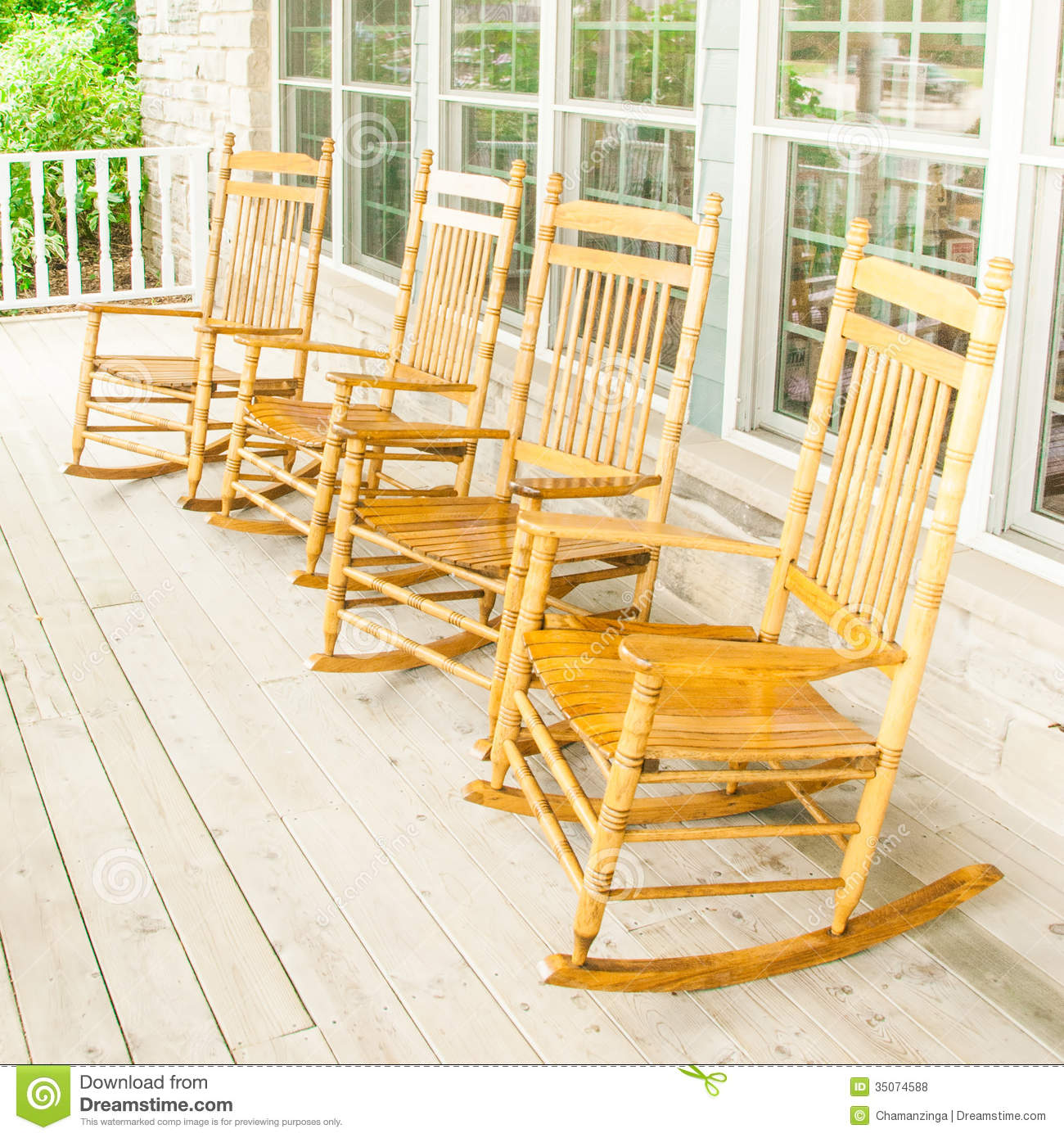 wooden porch chairs gummy bear chair rocking stock photo image of leather deck