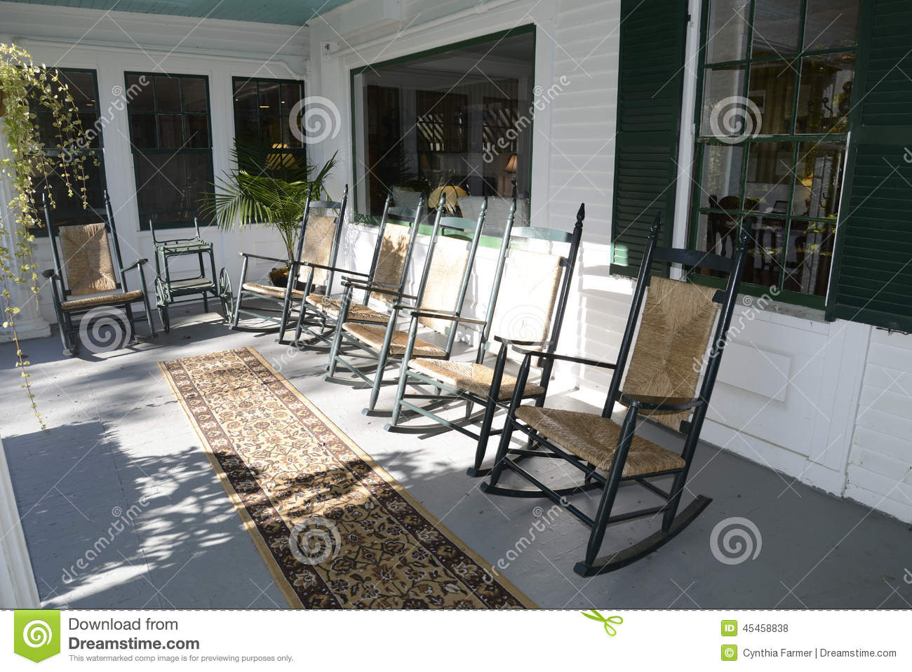 outdoor wooden rocking chairs white cheap wedding chair covers australia on an porch stock photo image