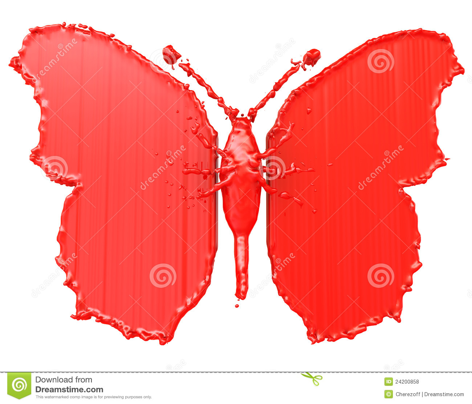 Rode Verf In De Vorm Van Een Vlinder Stock Illustratie