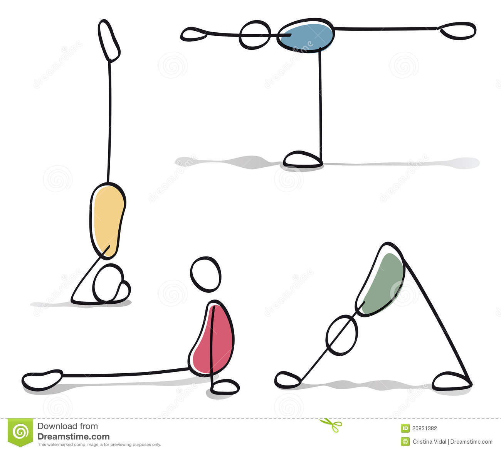 Roliga Personer Som Ova Yoga Vektor Illustrationer