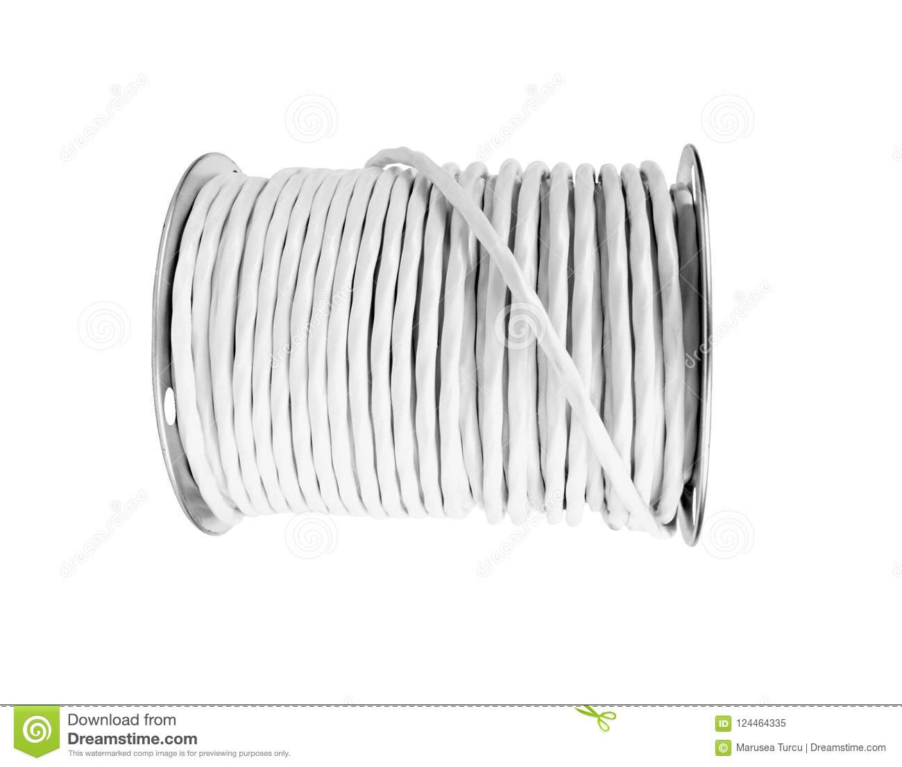 Roll Of Copper Electrical Wire Isolated Stock Image