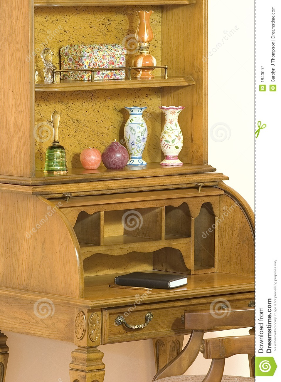 Roll Top Desk With Hutch Royalty Free Stock Photography