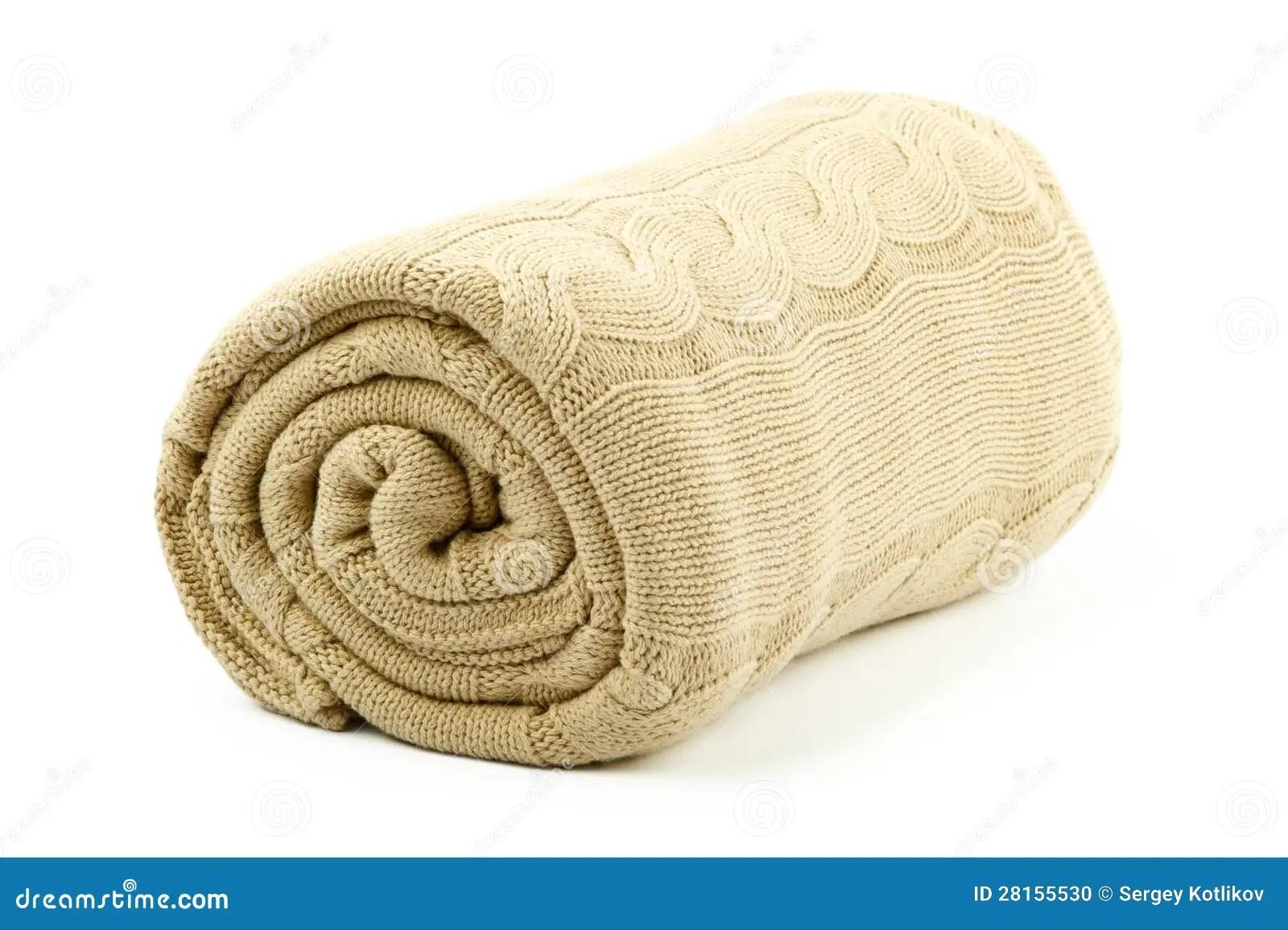 rolled beige blanket stock