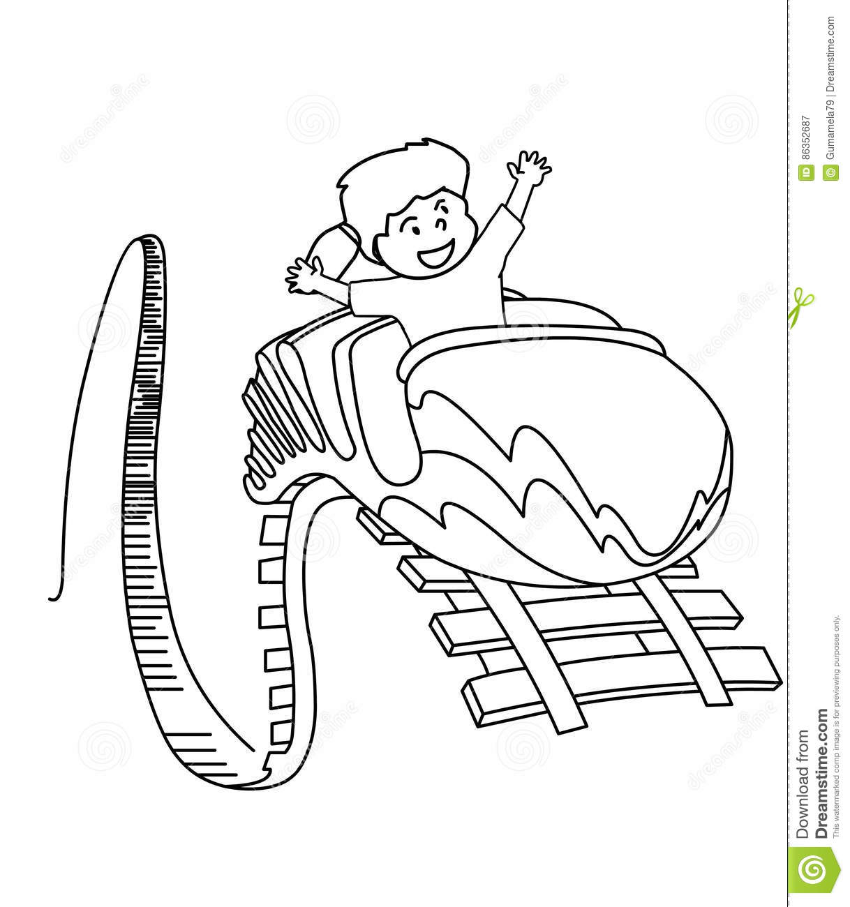 Roller Coaster Coloring Page Stock Illustration