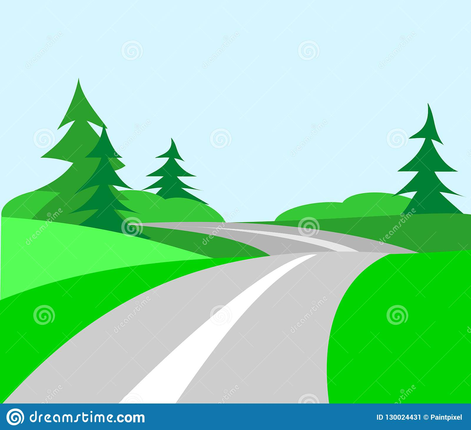hight resolution of rolling hills landscape with evergreen trees and winding country road going off into the distance
