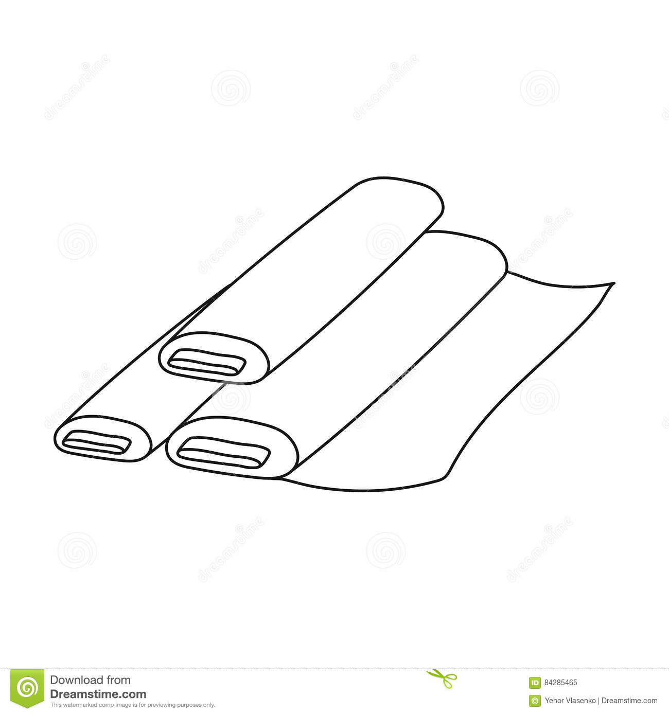 Rolls Of Paper Icon Outline Style Cartoon Vector