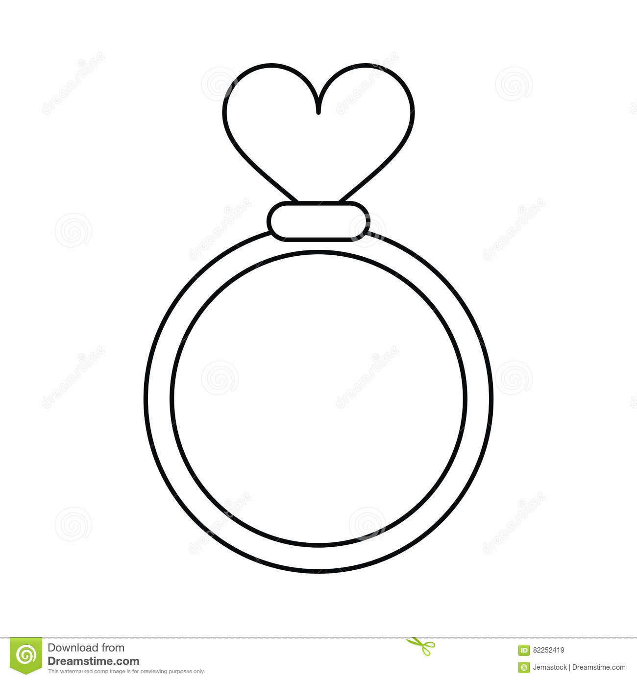 Romance Rings Love Heart Wedding Symbol Outline Stock