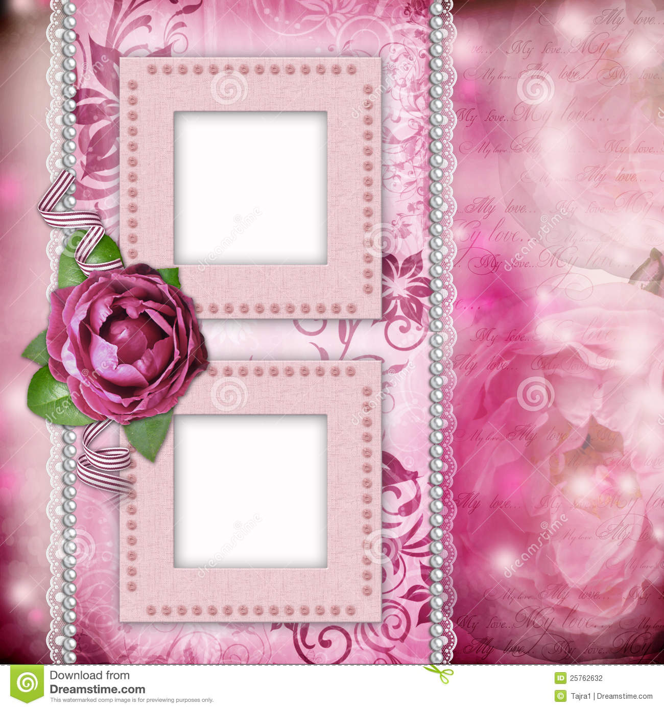 Romantic Background With Frames Rose Lace Stock
