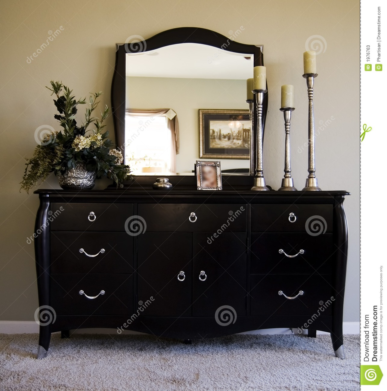 romantic bedroom with mirror on dresser stock image - image: 1976763
