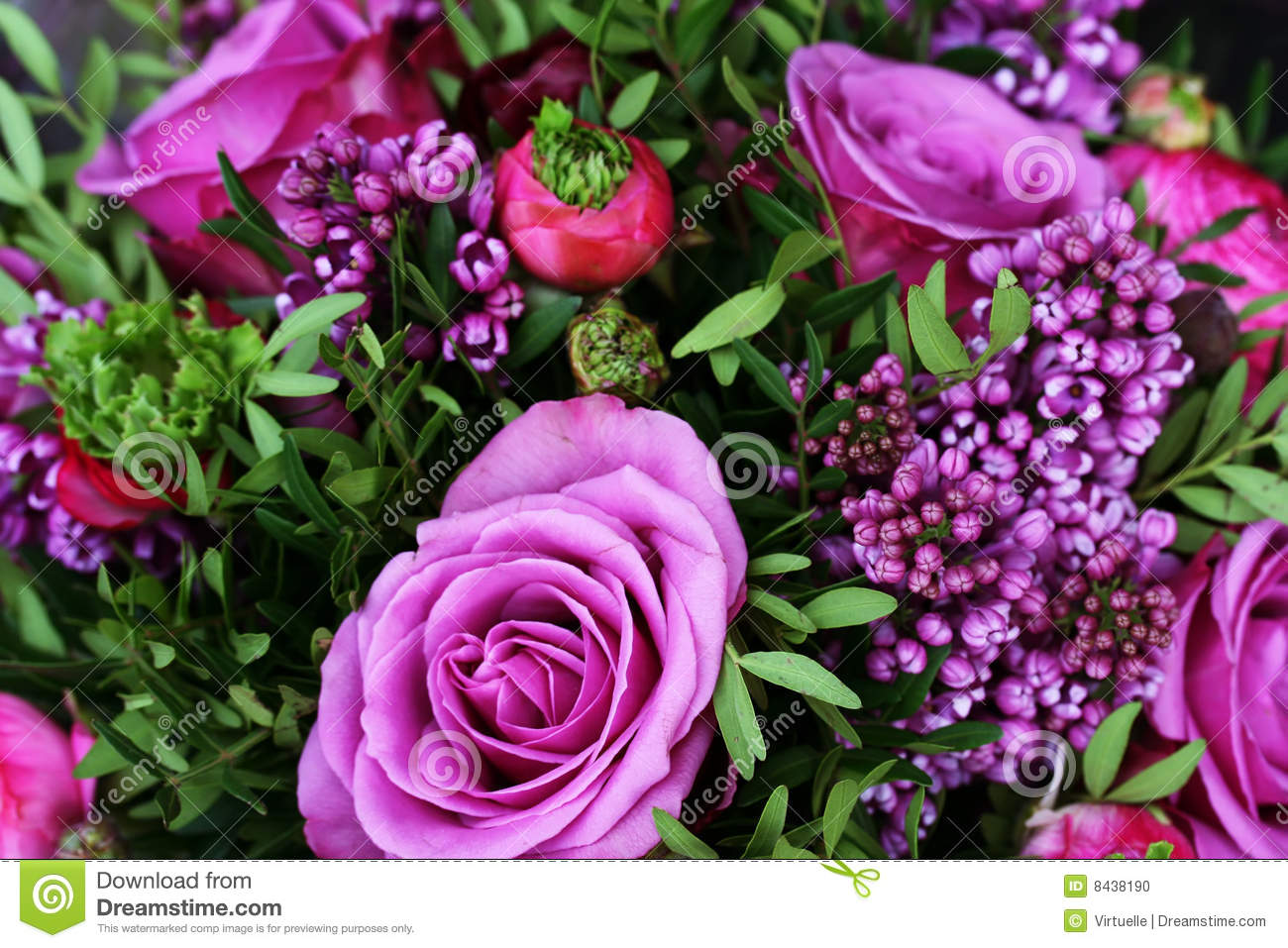 Romantic Bouquet With Purple Roses Stock Photo Image