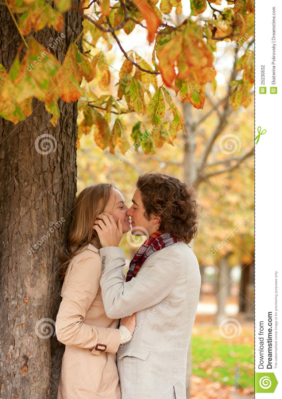 Romantic Couple At Fall Kissing Stock Photography Image 25230632