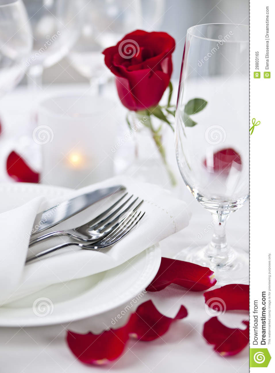 Romantic Dinner Setting With Rose Petals Royalty Free Stock Photo  Image 28803165