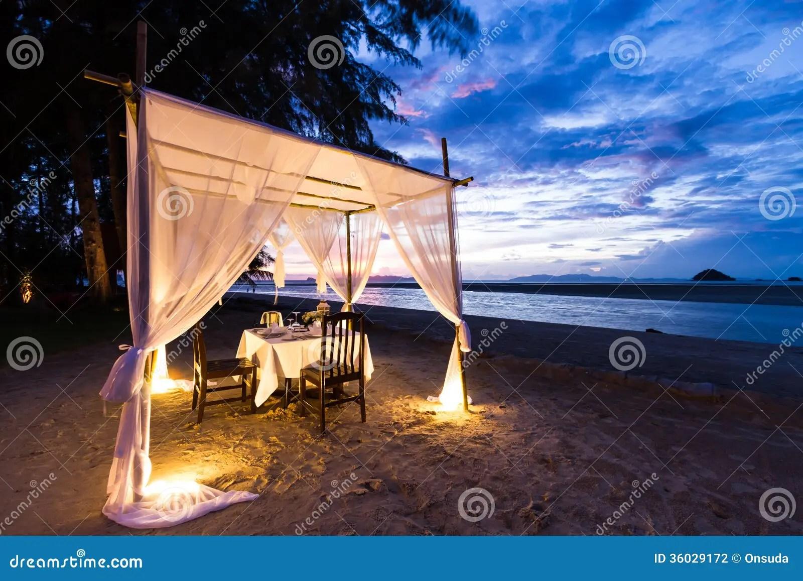 Romantic Dinner Setup Stock Photo Image Of Beach Sunset