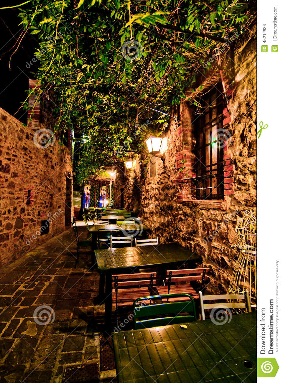 Romantic Dinner In Small Italian Restaurant Stock Photo