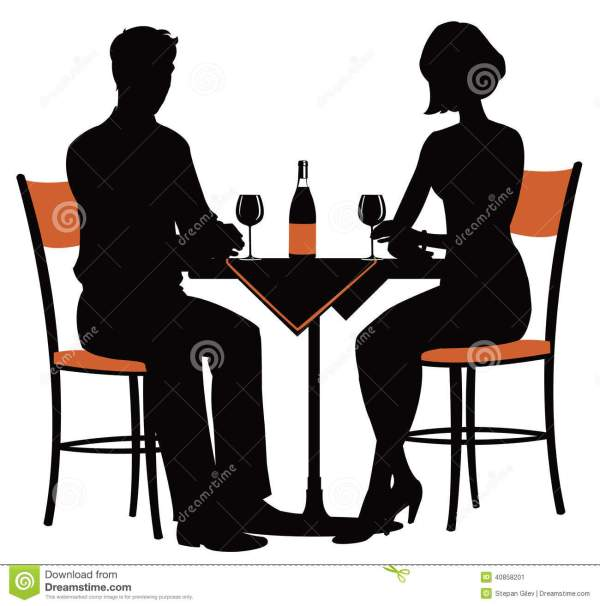 romantic dinner two stock vector