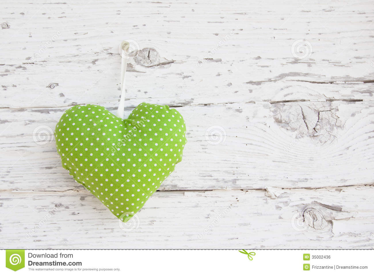 Romantic Green Dotted Heart Shape Hanging Above White