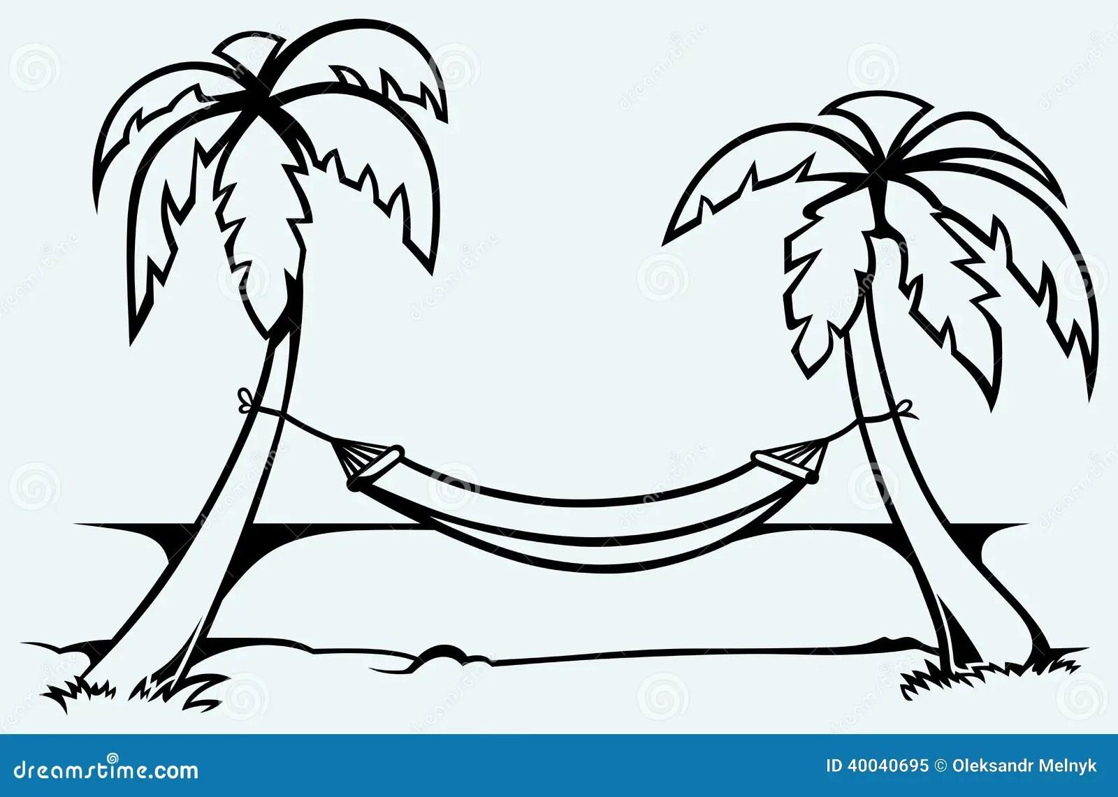 Romantic Hammock Between Palm Trees Stock Vector