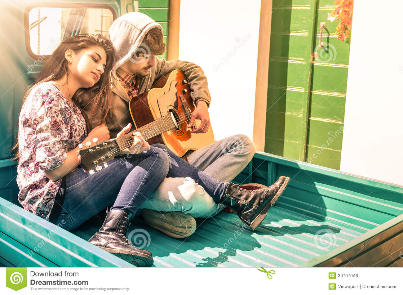 Cute Couples Wallpaper Free Download Romantic Young Couple Of Lovers Playing Guitar Outdoors