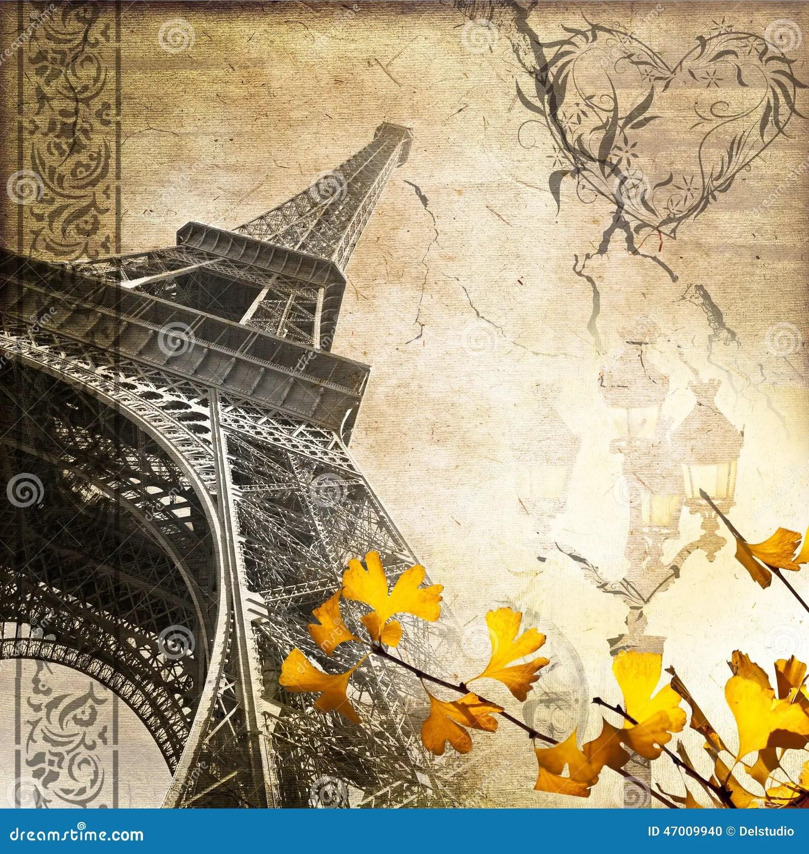 Fall Collage Wallpaper Romantischer Weinlese Paris Collage Eiffelturm Stockfoto