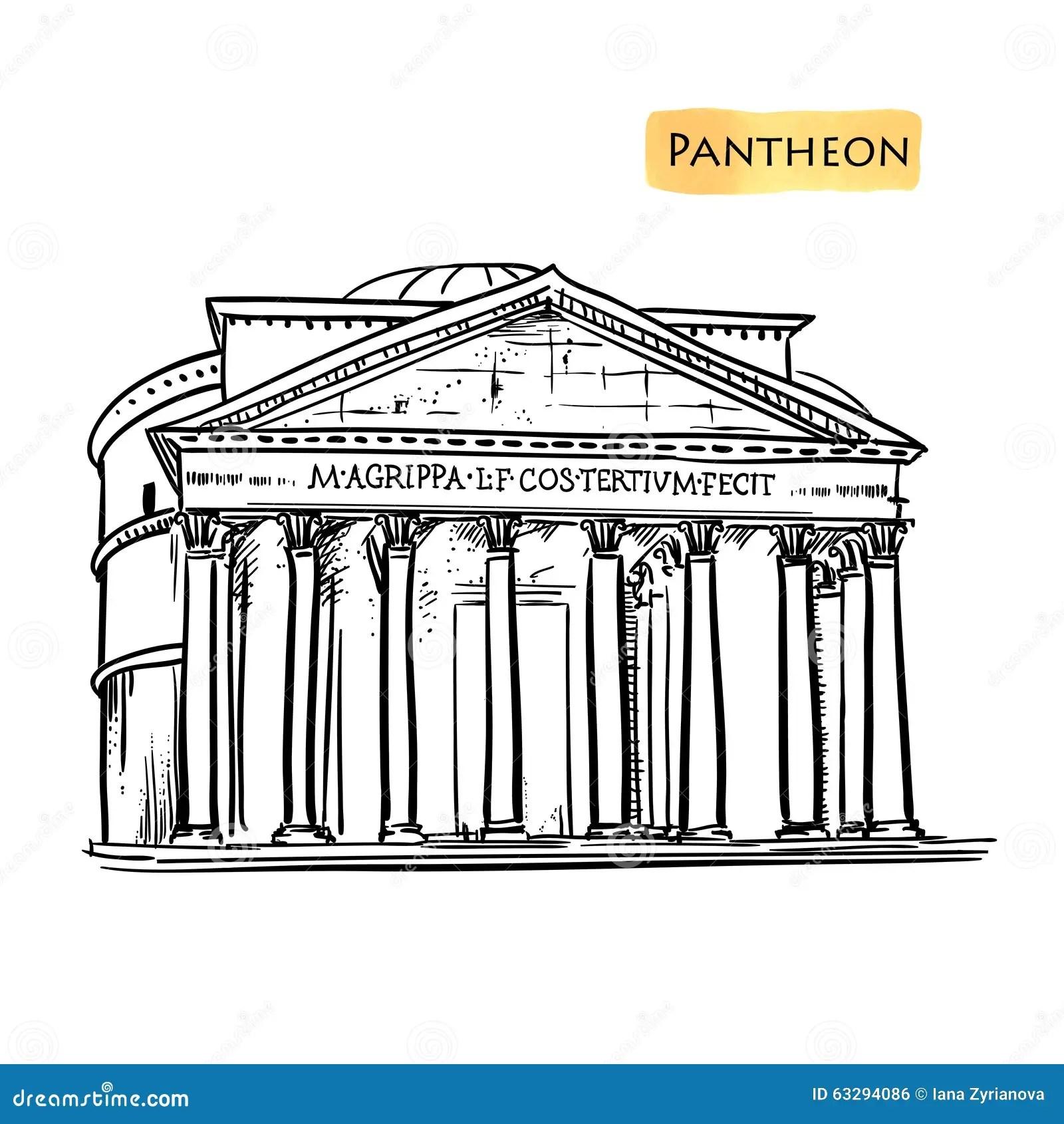 Rome Building Hand Drawn Vector Illustration Italian