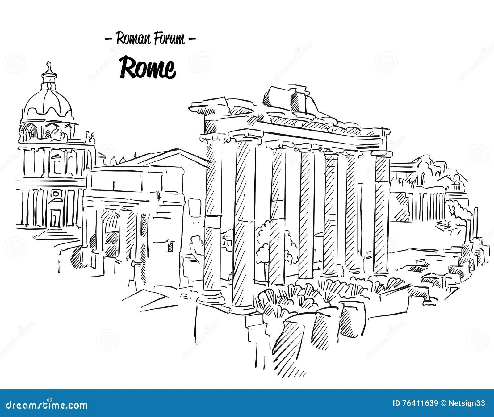 Rome Roman Forum Sketch Famous Landmark Stock