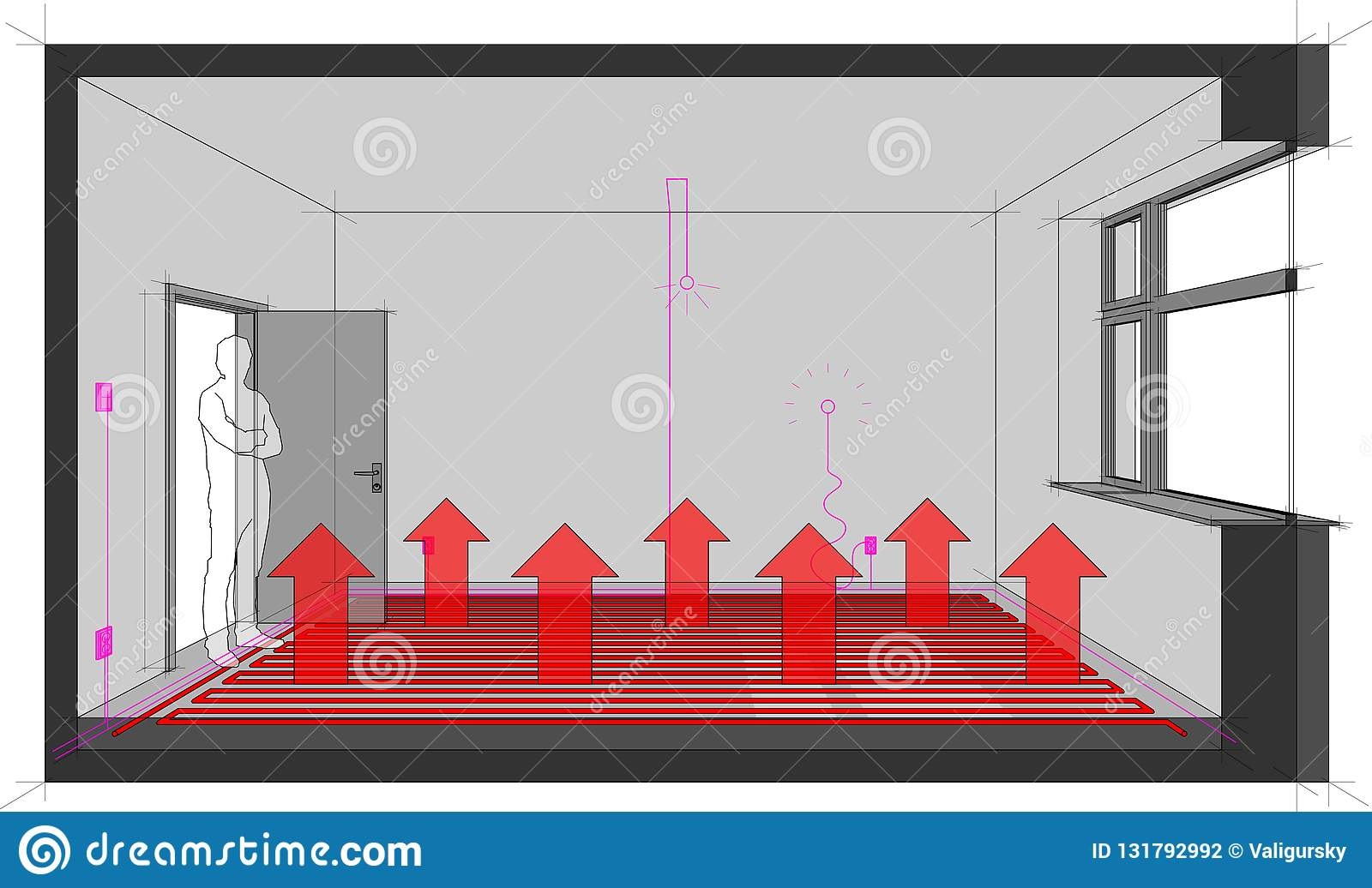 hight resolution of room with electric installations and floor heating