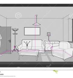 diagram of a single room furnished with sofa chair table cabinets ceiling lamp cloths hanger and painting on the wall and electric installations  [ 1300 x 860 Pixel ]