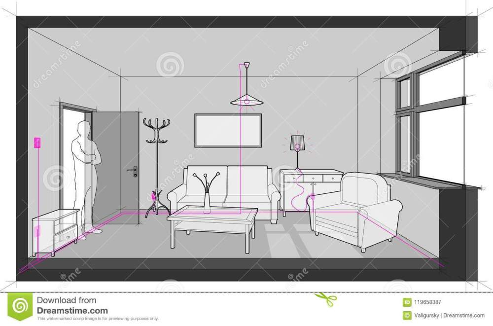 medium resolution of diagram of a single room furnished with sofa chair table cabinets ceiling lamp cloths hanger and painting on the wall and electric installations