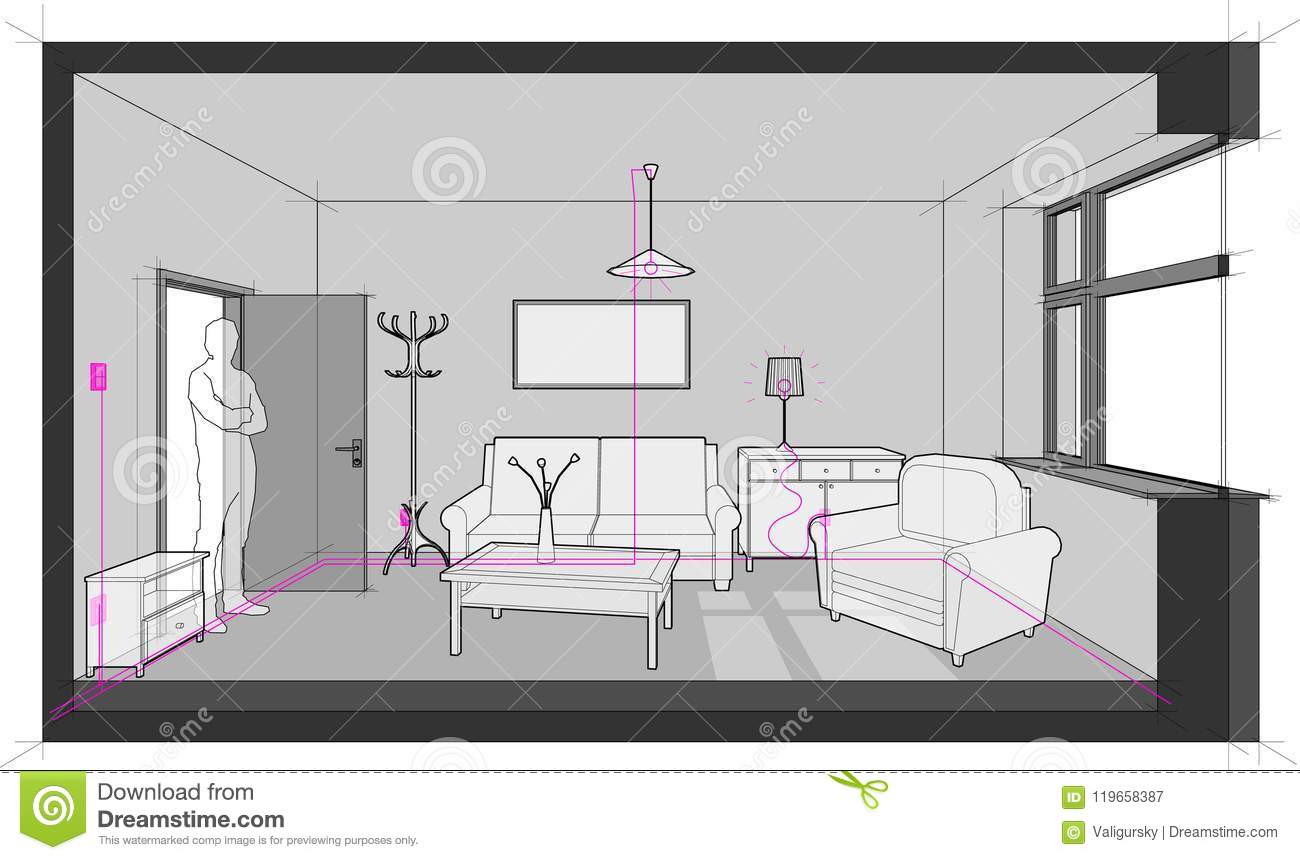 hight resolution of diagram of a single room furnished with sofa chair table cabinets ceiling lamp cloths hanger and painting on the wall and electric installations