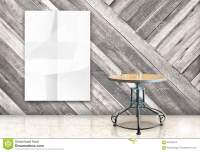 Room With Hanging Blank Crumpled White Poster And Wooden ...