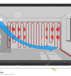 diagram of a room heated with wall heating and cooled with wall mounted air conditioner another room diagram from the collection all with the same point of  [ 1300 x 860 Pixel ]