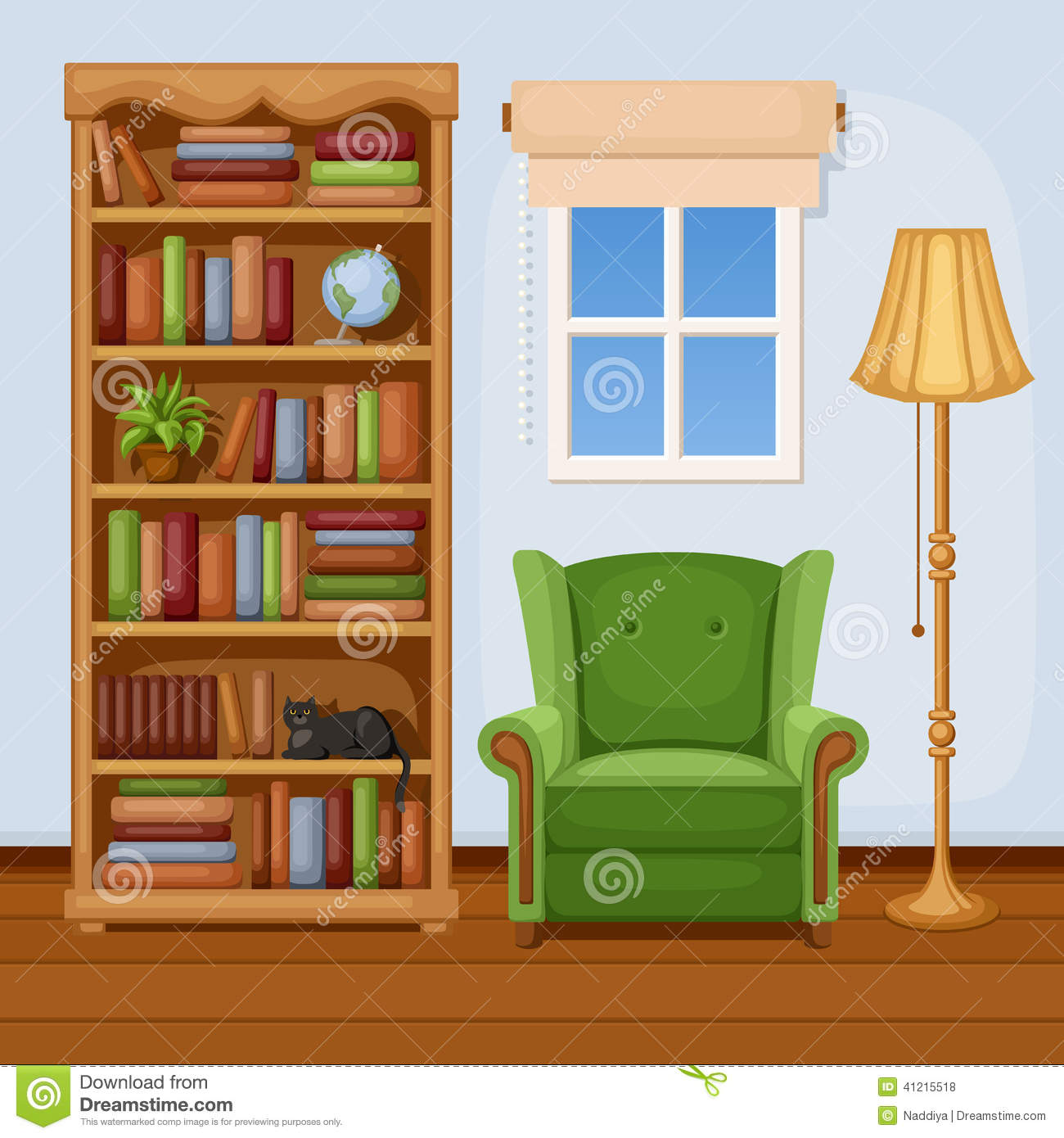 Room Interior With Bookcase And Armchair Vector Illustration Stock Vector Illustration Of