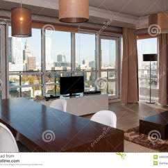 New Style Living Room Furniture Simple Interior Design For Indian View In Skyscraper Apartment Stock Photo - Image ...