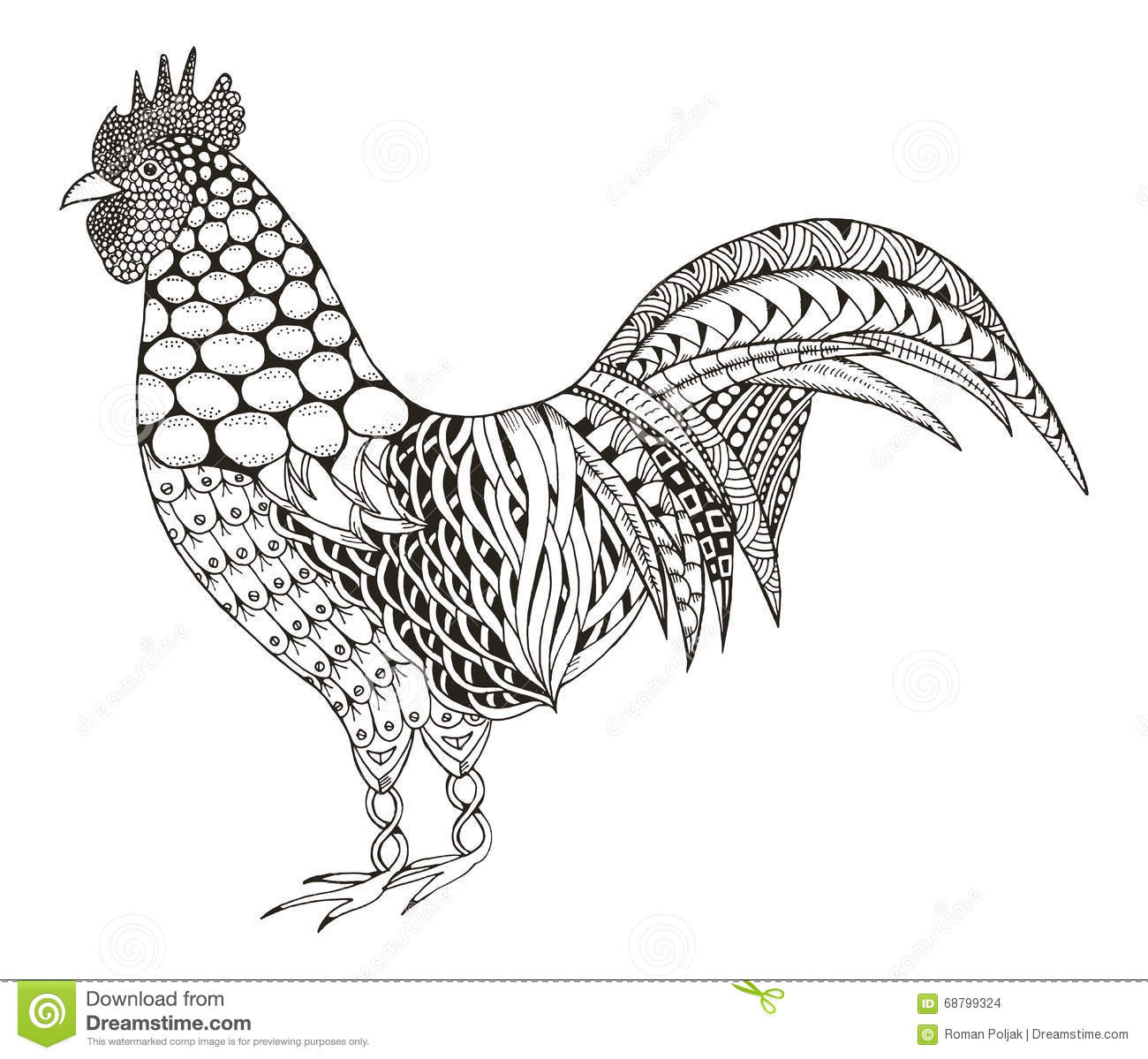 Rooster Zentangle Stylized Vector Illustration Pattern