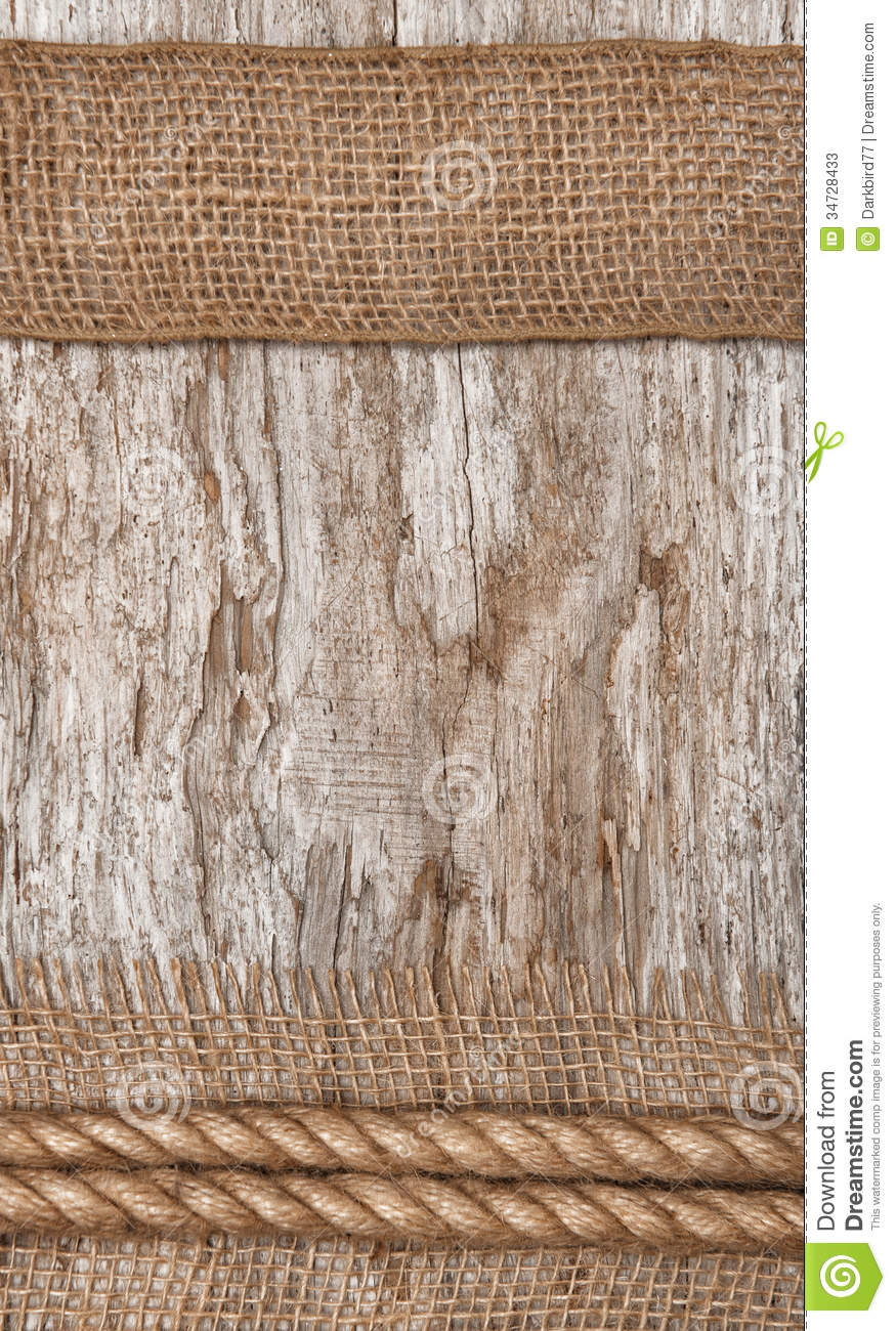 Rope And Burlap Textile On The Old Wood Stock Image