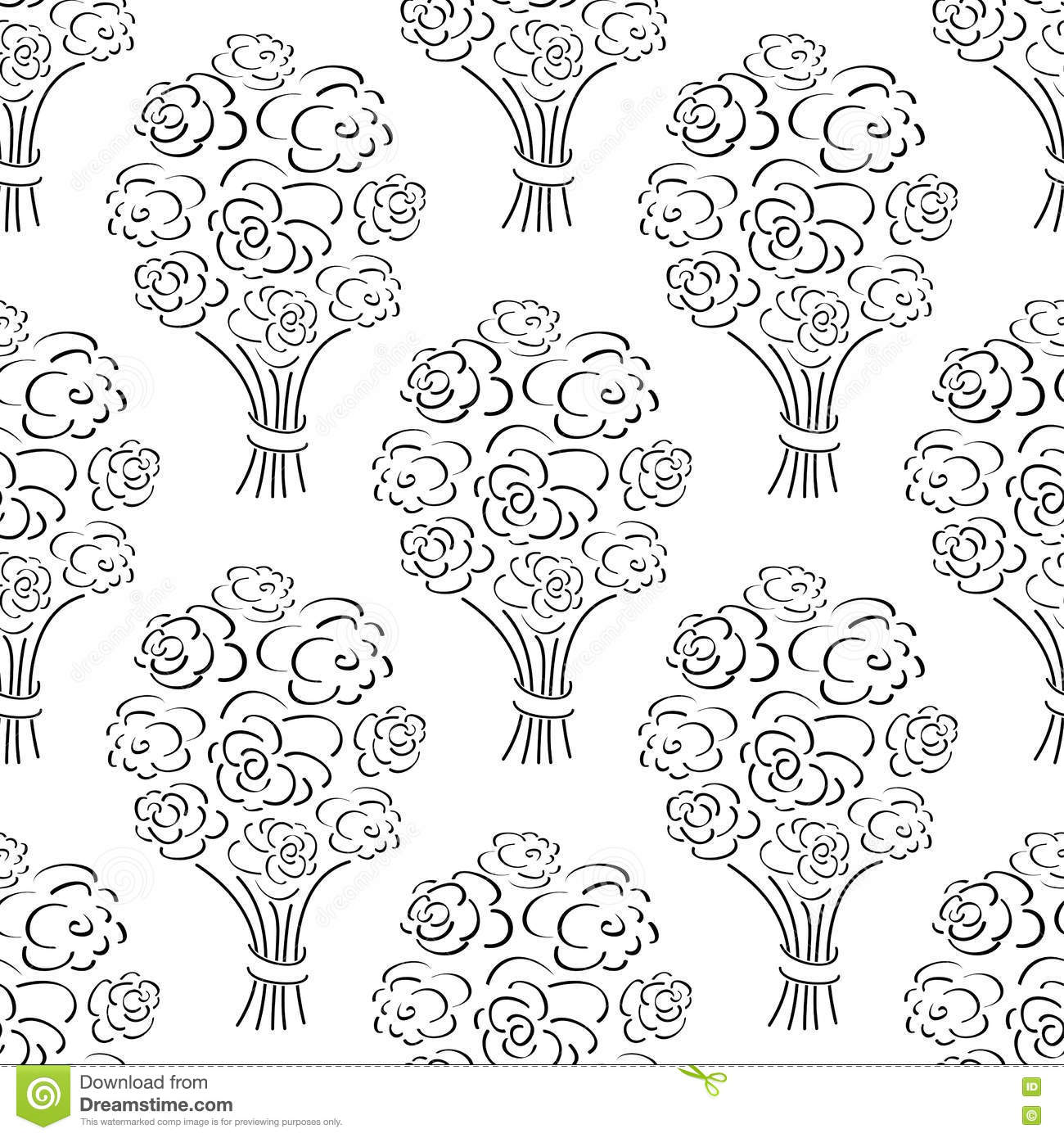 Vector Seamless Pattern With Flower Bouquet Vector