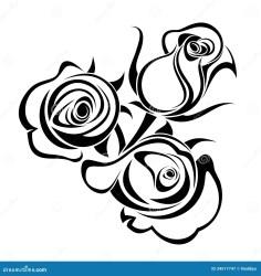 rose silhouettes silhouette buds clipart clip bud vector roses flower bouquet knoppar svarta rosen steg schwarze knospen schattenbilder konturer drawing