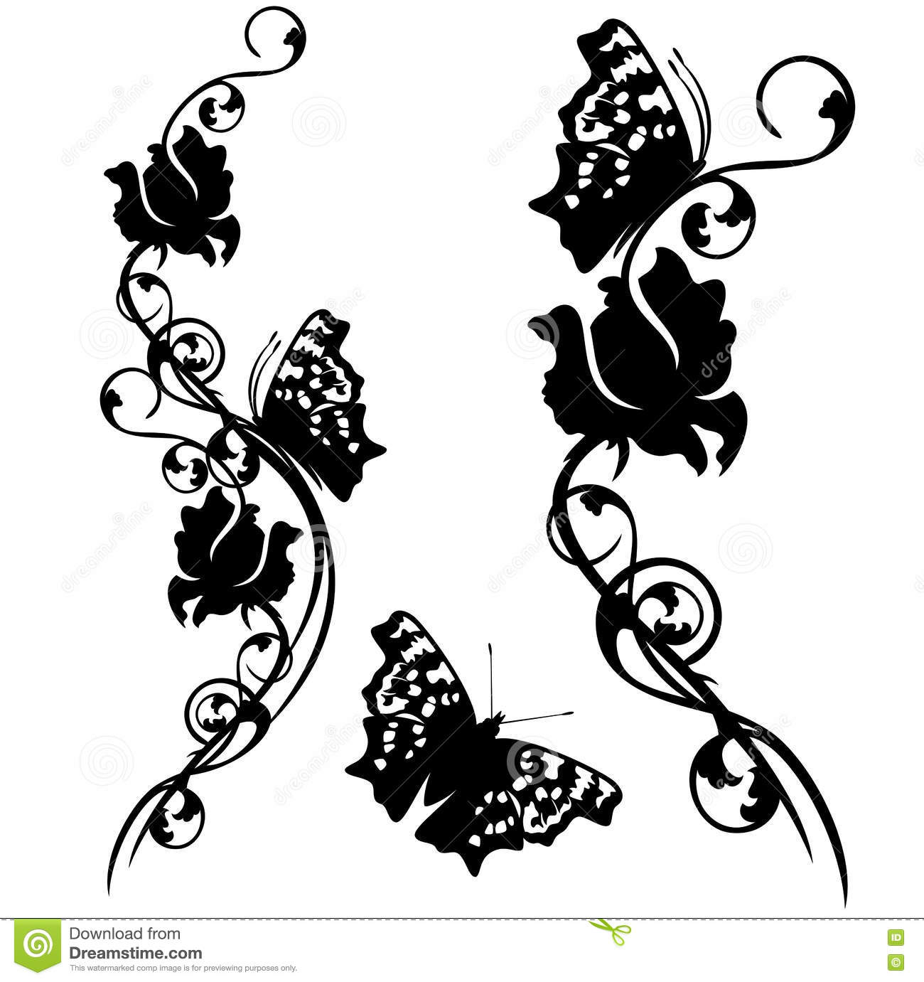 Butterflies Flowers Clip Art 1 Royalty Free Cartoon