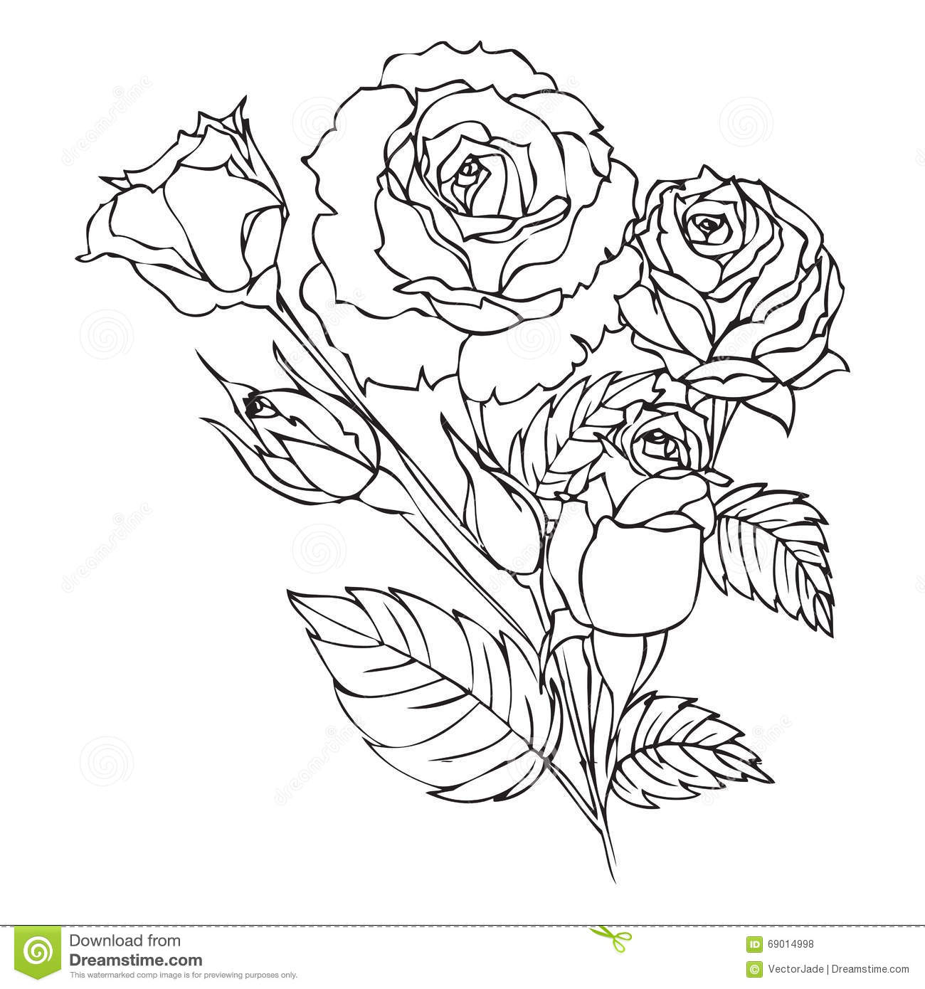 Roses Contour Drawing Stock Illustration Illustration Of
