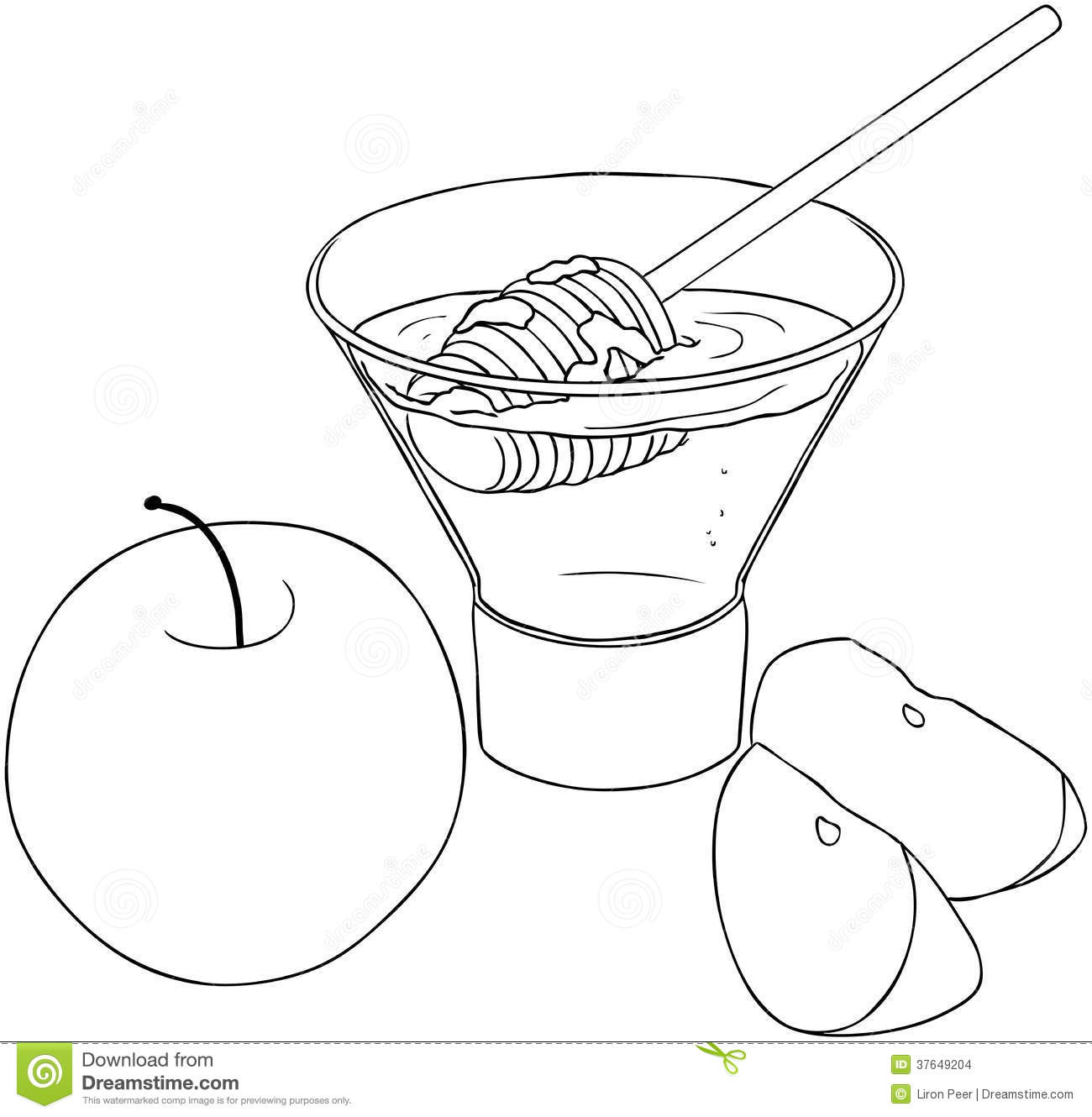 Rosh Hashanah Honey With Apples Coloring Page Stock Images
