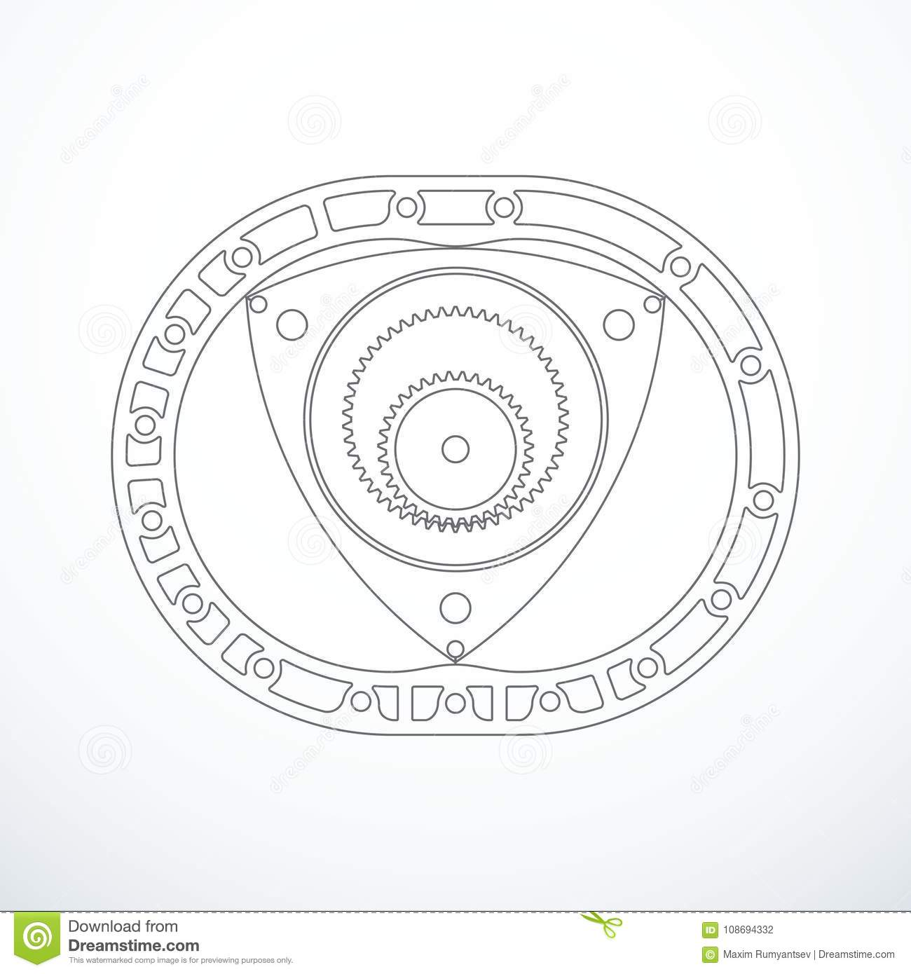 Rotary Wankel Engine. Vector Illustration Stock Vector