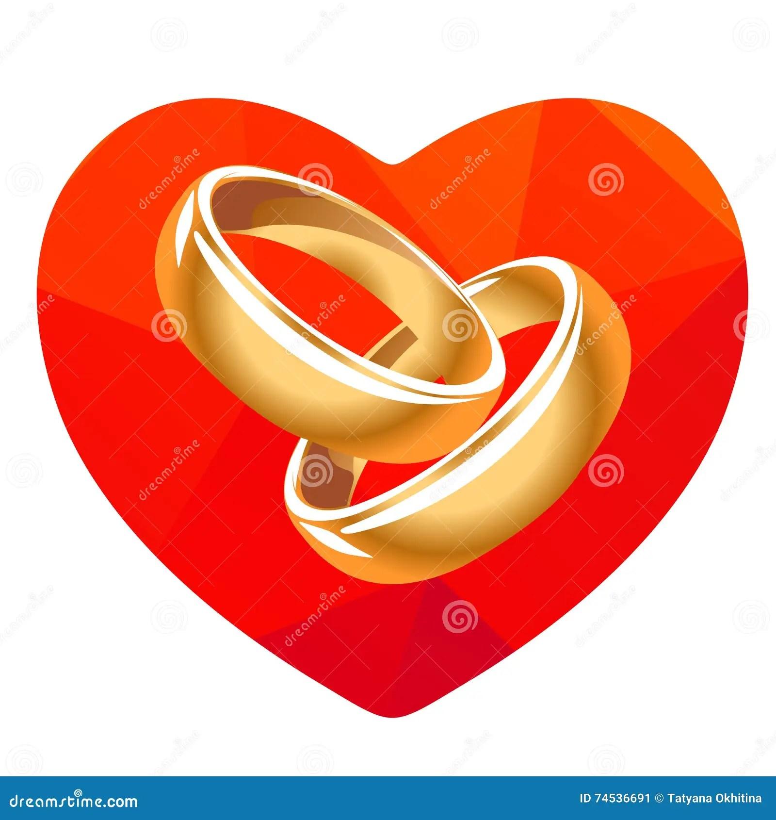 Rotes Herz und zwei Ringe vektor abbildung Illustration