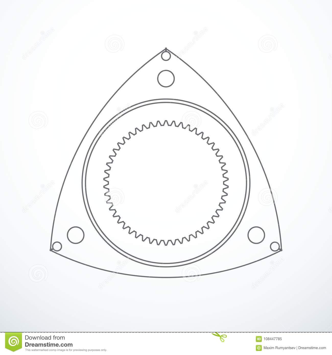 Rotor Of Rotary Wankel Engine Vector Illustration Stock