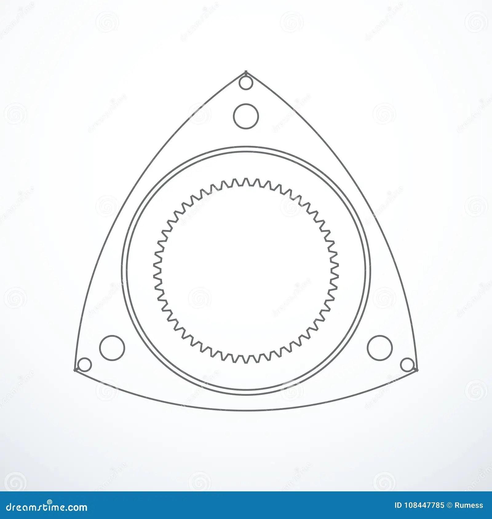 Rotor Of Rotary Wankel Engine Vector Illustration Stock Vector