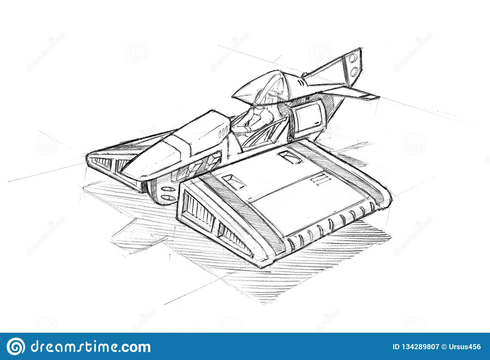 hight resolution of rough black and white concept art drawing of small sci fi or futuristic aircraft or hovercraft